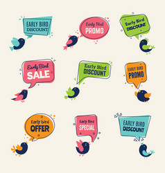 early bird special offers badges discounts labels vector image