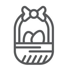 easter basket line icon easter and decoration vector image
