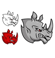 Fierce cartoon rhino head vector