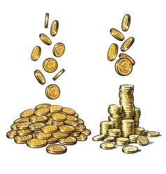 finance money set sketch falling gold coins vector image