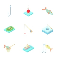 Fishery icons set cartoon style vector