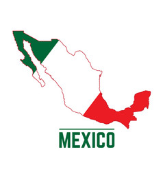 Flag and map of mexico vector