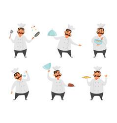 funny characters of chef in action poses vector image