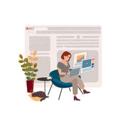Girl freelancer works at home in quarantine vector