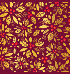 Gold and red holly berry holiday seamless vector