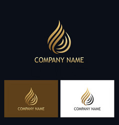 Gold water drop swirl logo vector