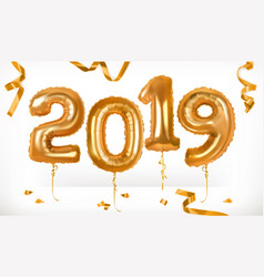 golden toy balloons happy new year 2019 3d icon vector image