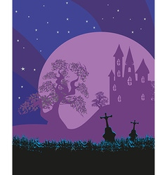 Halloween landscape with castle and cemetery vector