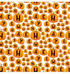 halloween pumpkin font alphabet text seamless vector image