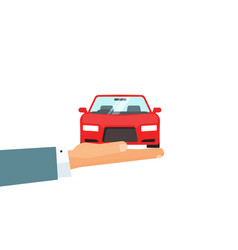 hand holding car concept of automobile vector image