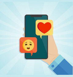 hand holding smartphone with tender emotion and vector image