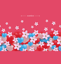 hearts and flowers horizontal seamless border vector image