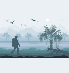 hiker enjoying tropical landscape mountain peaks vector image