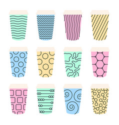isolated set 12 paper texture pattern cups vector image
