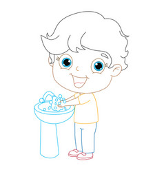 kid washing hands coloring page vector image