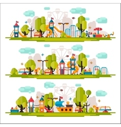 Kids Playground drawn in a flat style vector image