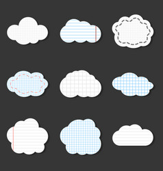 lined cloud icons school stickers notebook vector image