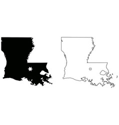 louisiana la state map usa with capital city star vector image