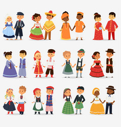 Lttle kids children couples character of world vector