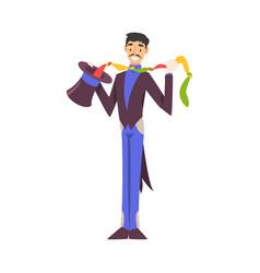 Magician doing tricks with handkerchief vector