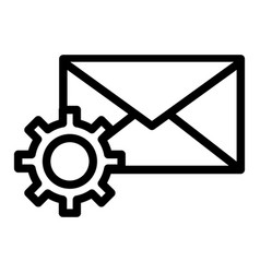 Mail settings line icon envelope and cog wheel vector