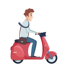 man rides motorbike happy businessman drives to vector image