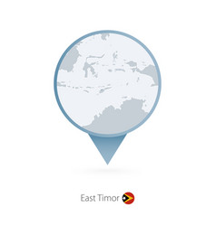 Map pin with detailed east timor vector