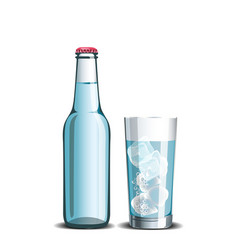 Mineral water full bottle and glass vector