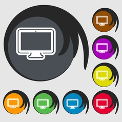 monitor icon sign Symbol on eight colored buttons vector image
