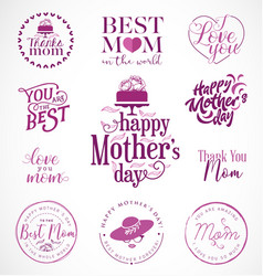mothers day design elements badges and labels vector image
