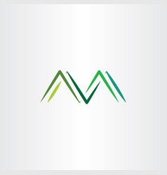 mountains letter m symbol logo green vector image