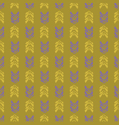 Mustard yellow vintage leaves with lilac purple vector