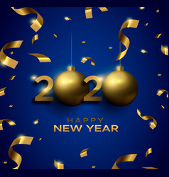 new year 2020 3d gold bauble blue greeting card vector image