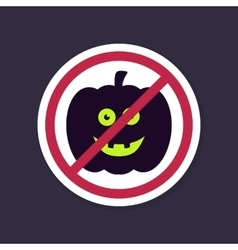 No Ban or Stop signs Halloween pumpkins icon vector