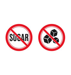 no sugar sign red prohibition signs image vector image