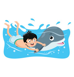 of kid swimming with dolphin vector image