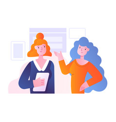 office scene with two female characters discussing vector image