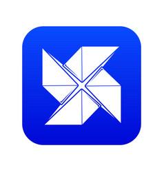 Origami shuriken icon blue vector