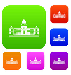 Palace of congress argentina set color vector