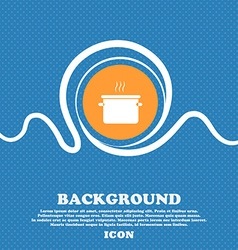 pan cooking icon sign Blue and white abstract vector image