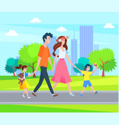 parents and children spend time outdoors family vector image