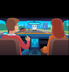 people inside car interior travel driver vector image