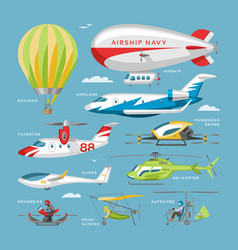 plane aircraft or airplane and jet flight vector image
