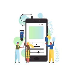 Podcast app flat style design vector
