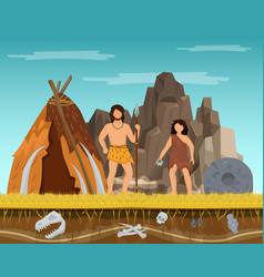 Prehistoric couple woman and man staying ancient vector