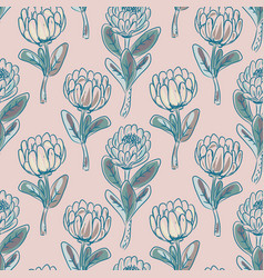 Protea flower seamless pattern vector