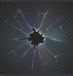 Realistic broken glass black background vector