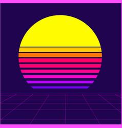 Retrowave sun background vector