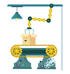 Robotic conveyor belt system icon vector