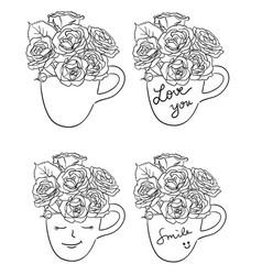 Roses line art 02 vector